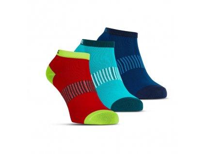 Salming Performance Ankle Sock 3p Blue/Red/Lapis (Velikosti oblečení 43-46)