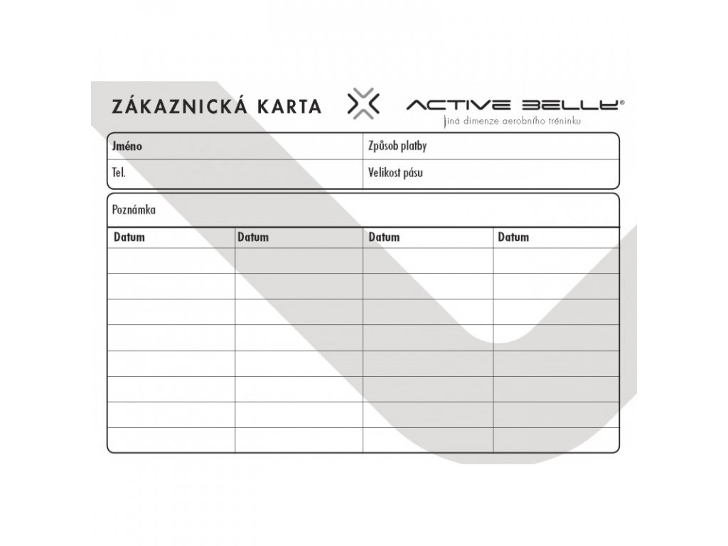 zakaznicka karta active belly