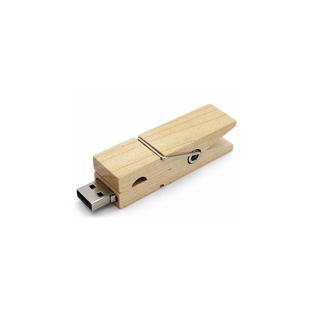 USB flash disk dřevěný kolíček 32 GB