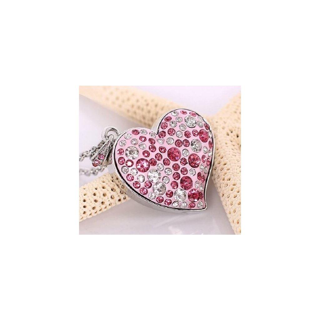 USB flash disk Srdce růžové s kamínky 32 GB