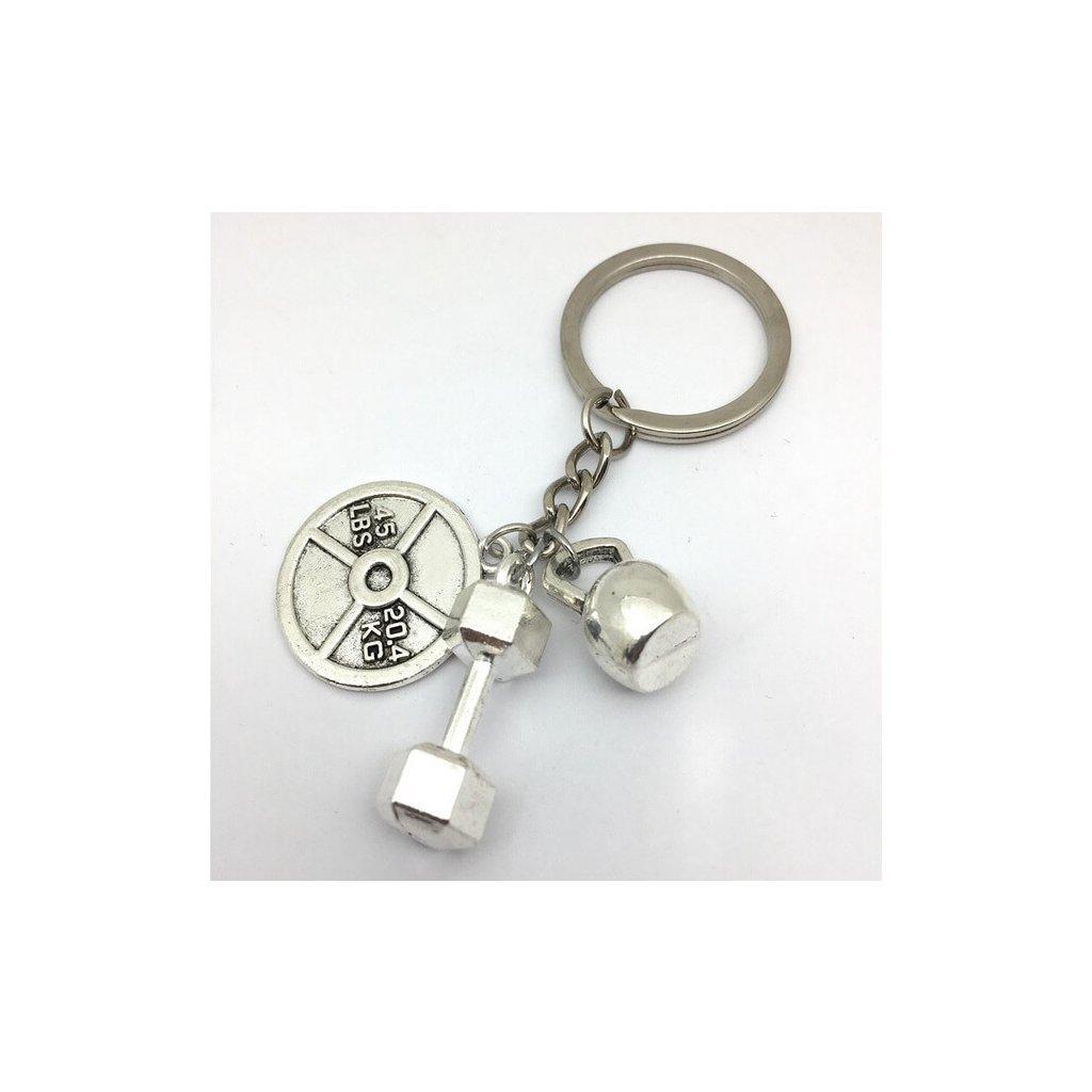 Přívěšek na klíče činka a závaží
