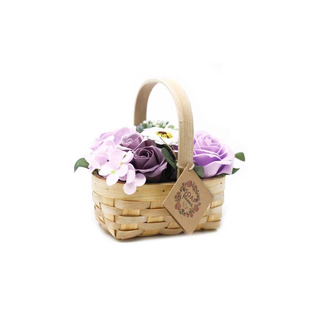 Mydlové kvety, fialové, darčekový košík