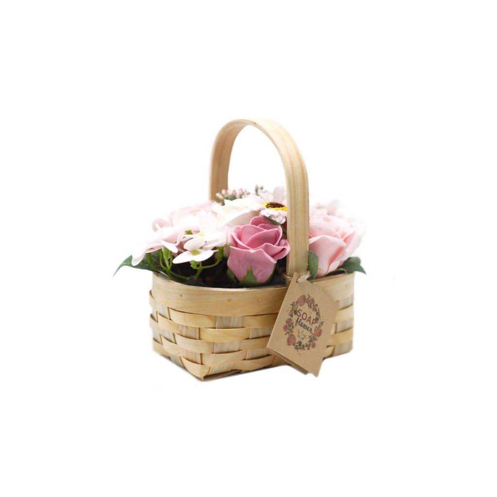 Mydlové kvety rúžové – darčekový košík