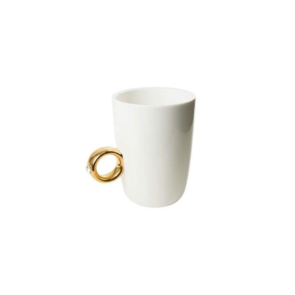 Hrnček Swarovski, biely so zlatým prsteňom