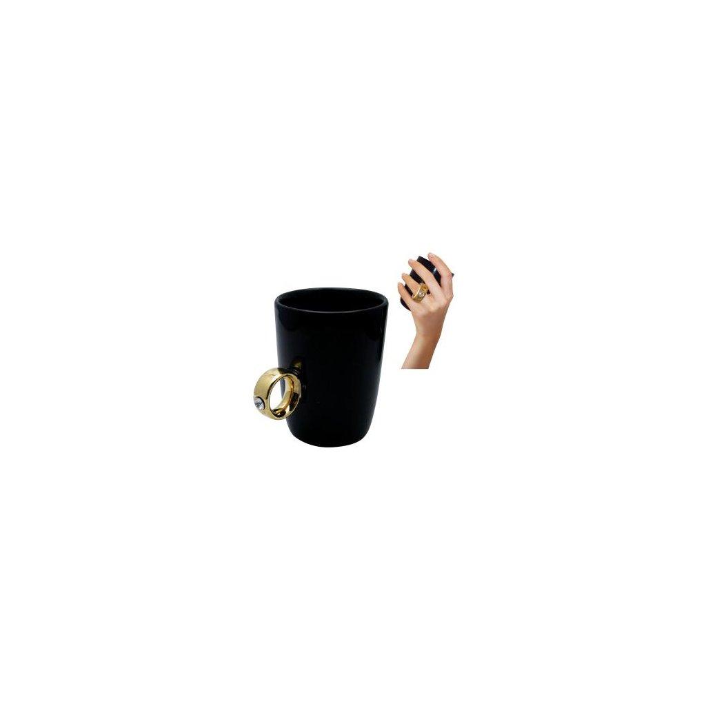 Hrneček Swarovski černý se zlatým prstenem