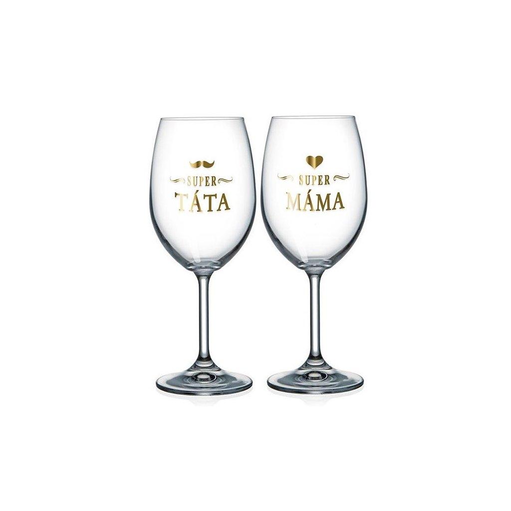 Párové sklenice na víno Super táta / Super máma
