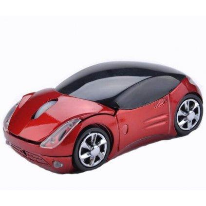 Optická bezdrátová myš auto červená
