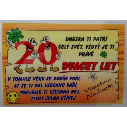 Vtipné přání k narozeninám - 20 let
