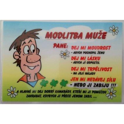 Vtipná kartička - Modlitba muže
