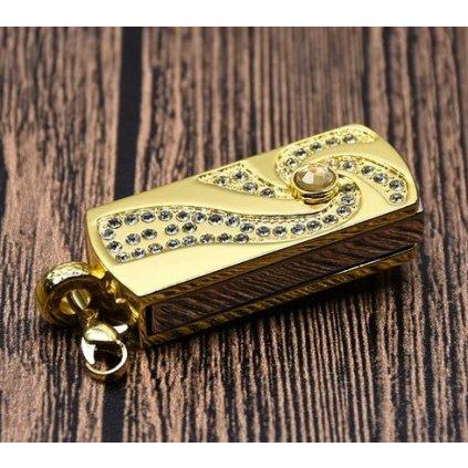 USB Flash disk zlatý s kamínky 32 GB