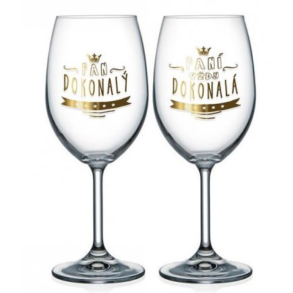 Párové sklenice na víno Pan dokonalý a Paní dokonalá