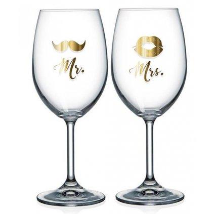 Párové sklenice na víno Mr. a Mrs.