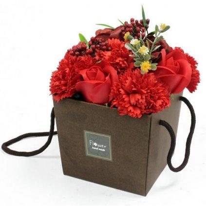 Mydlové kvety, červené, darčekový box