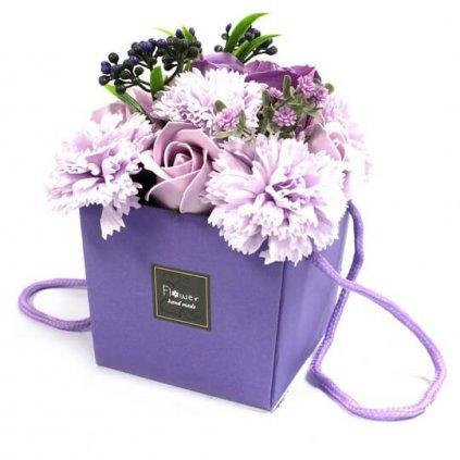 Mydlové kvety, fialové, darčekový box