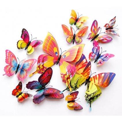 Farebné motýle na stenu – 12 ks