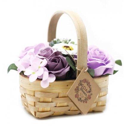 Mýdlové květy fialové - dárkový košík