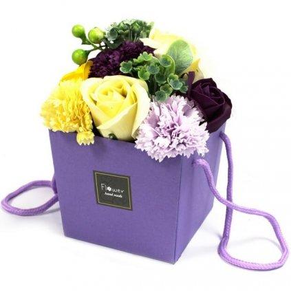 Mydlové kvety, fialovo – žlté, darčekový box