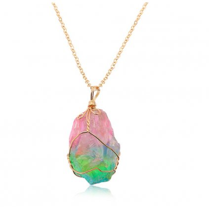 Náhrdelník s barevným krystalem