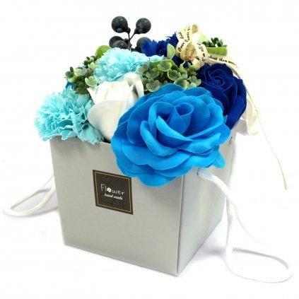 Mydlové kvety, modré, svadobný darčekový box