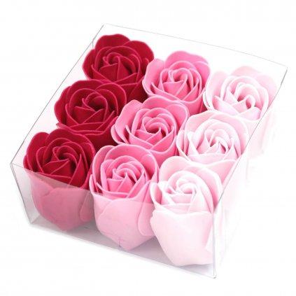 Mydlové kvety, ružové, 9 ks