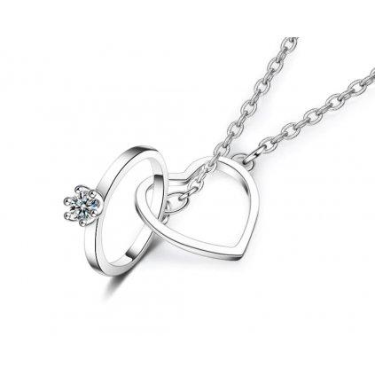 Přívěsek na řetízku- srdce s prstenem