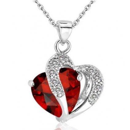 Přívěsek s řetízkem- červené srdce