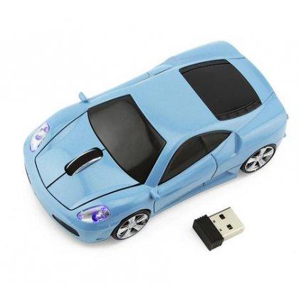 Závodní auto myš k počítači modrá