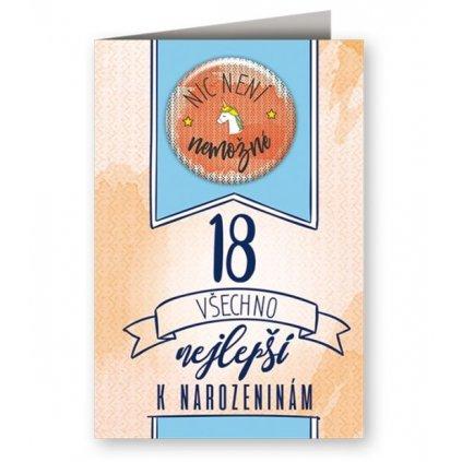 Narozeninové přání 18 s plackou - Nic není nemožné