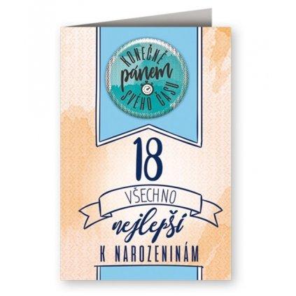 Narozeninové přání 18 s plackou - Konečně pánem