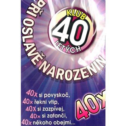 Klub 40letých - přání s plackou