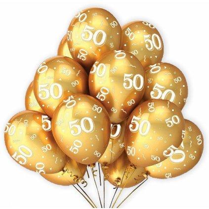 Narozeninové balonky 50 zlaté 7 ks