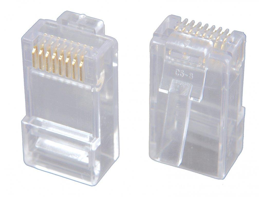Konektor RJ45 CAT5E UTP 8p8c nestíněný zl.50µ na kulatý drát