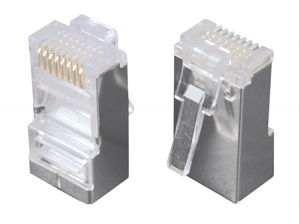 Konektor RJ45 CAT5E STP 8p8c stíněný zl.50µ na drát/licnu