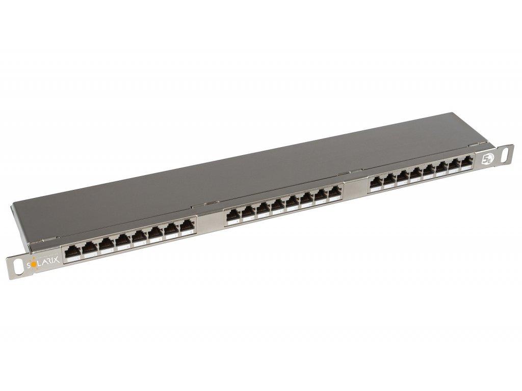 Patch panel Solarix 24xRJ45 CAT5E STP s vyvazovací lištou 0,5U