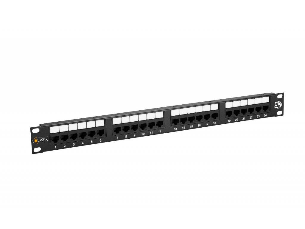 Patch panel Solarix 24 x RJ45 CAT5E UTP 150 MHz černý 1U