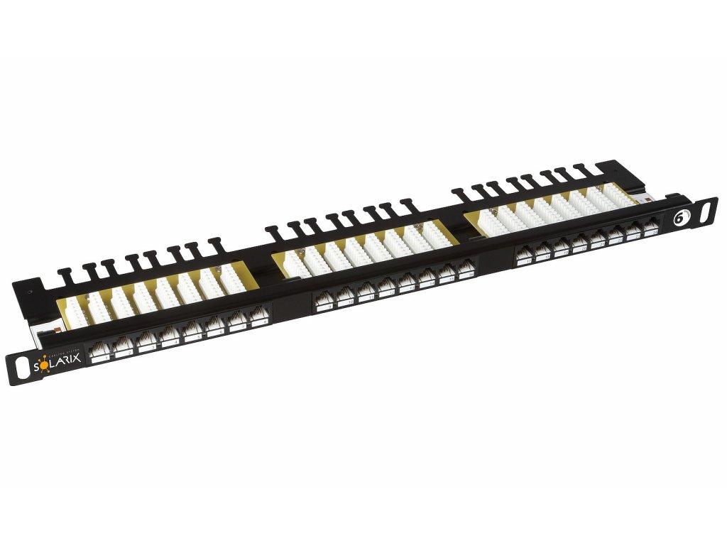 Patch panel Solarix 24xRJ45 CAT6 UTP s vyvazovací lištou černý 0,5U