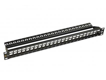 10G modulární neosazený patch panel Solarix 24 portů STP černý 1U