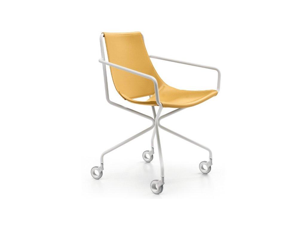 Luxusní kožená židle na kolečkách Apelle