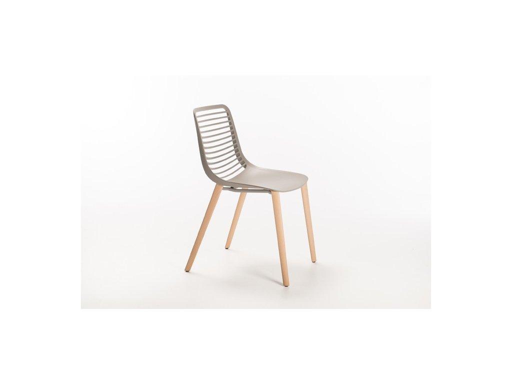Moderní židle Mini wood na dřevěné podnoži