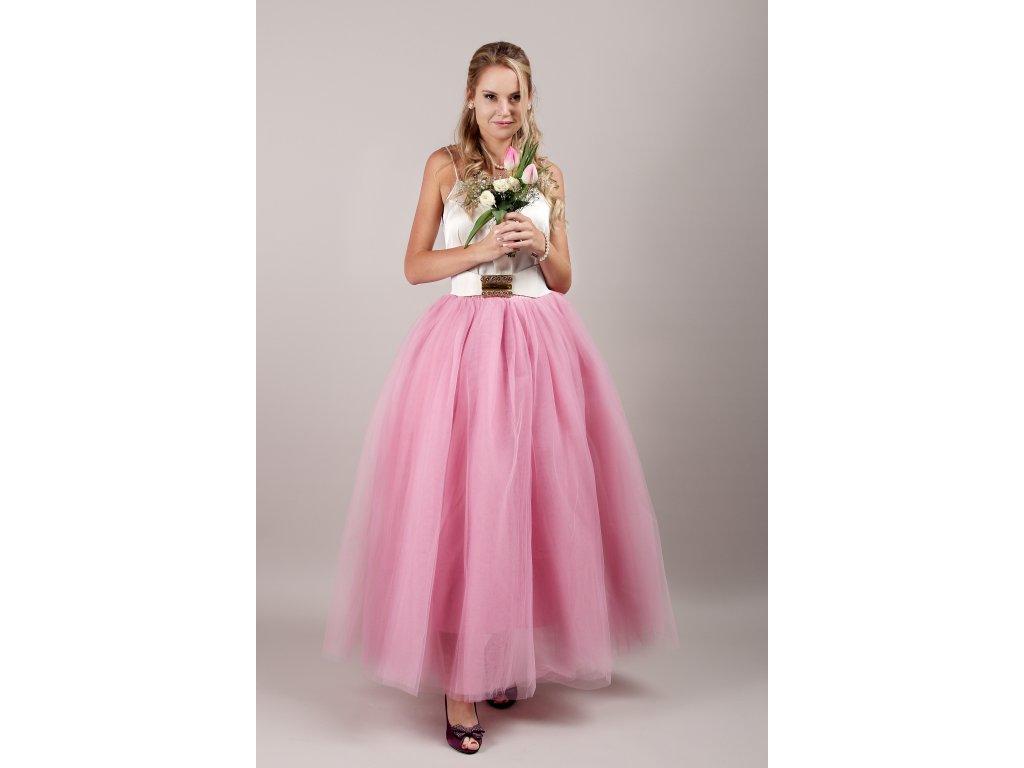 Tutu sukně tylová dámská maxi - korálová