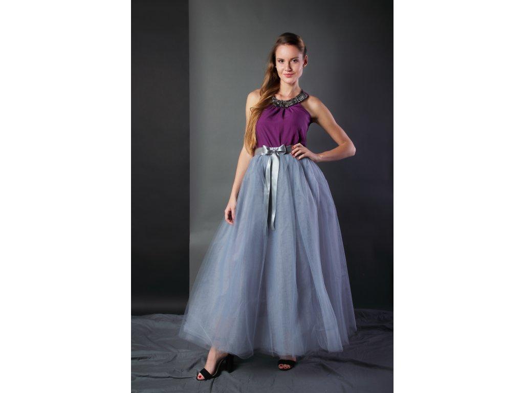 Tutu sukně tylová dámská maxi - šedá