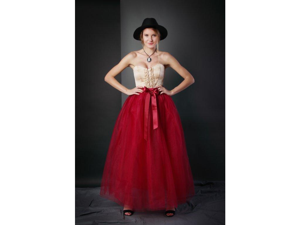 Tutu sukně tylová dámská maxi - vínová