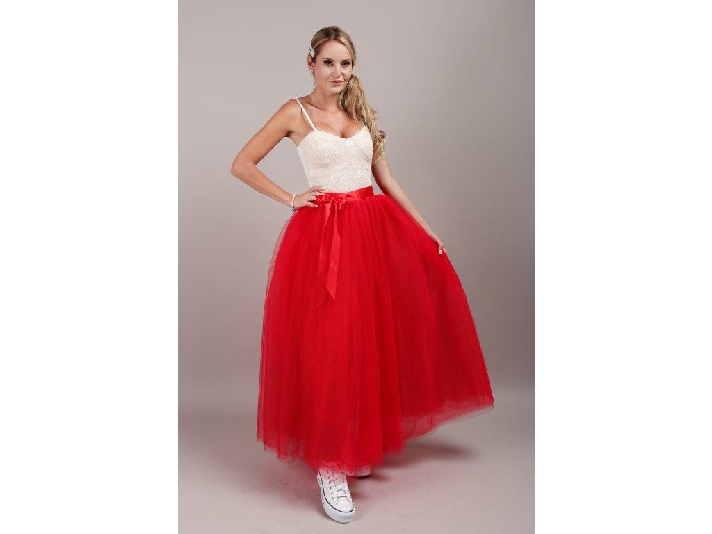 Tutu sukně tylová dámská maxi - červená