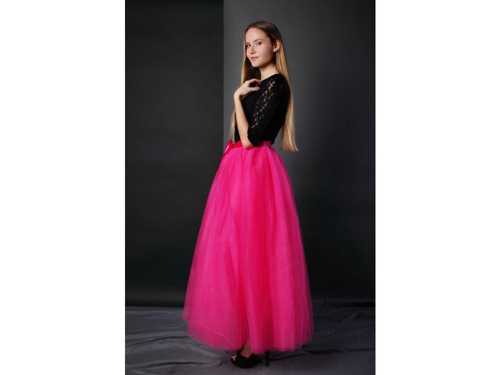 Tutu sukně tylová dámská maxi - růžová