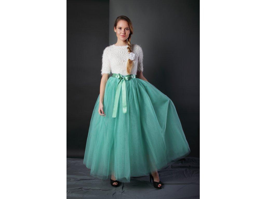 Tutu sukně tylová dámská maxi - světle zelená
