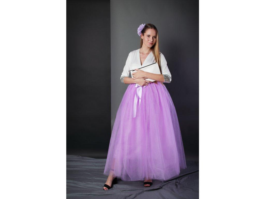 Tutu sukně tylová dámská maxi - šeříková