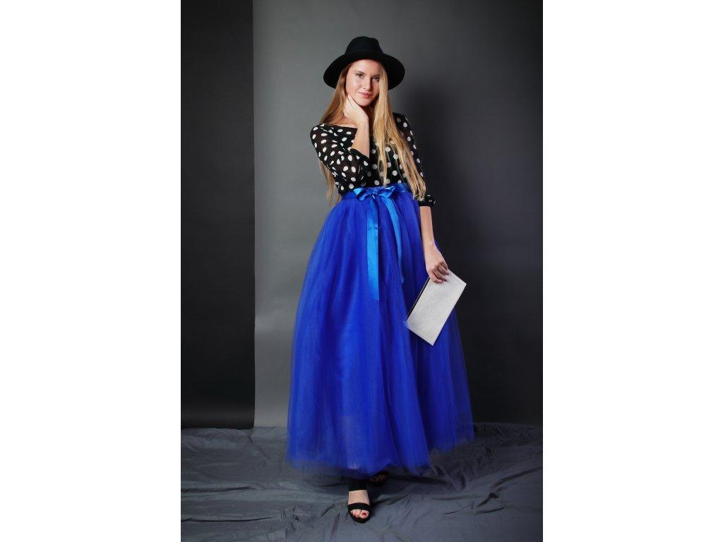 Tutu sukně tylová dámská maxi - královsky modrá
