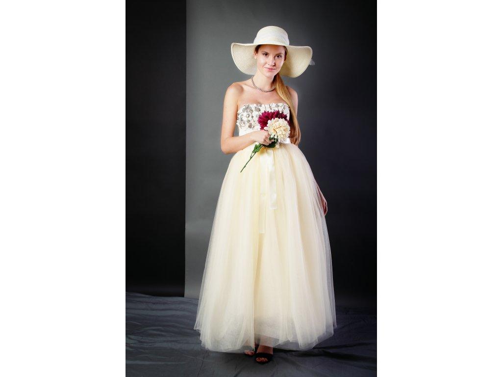 Tutu sukně tylová dámská maxi - šampaň svatební