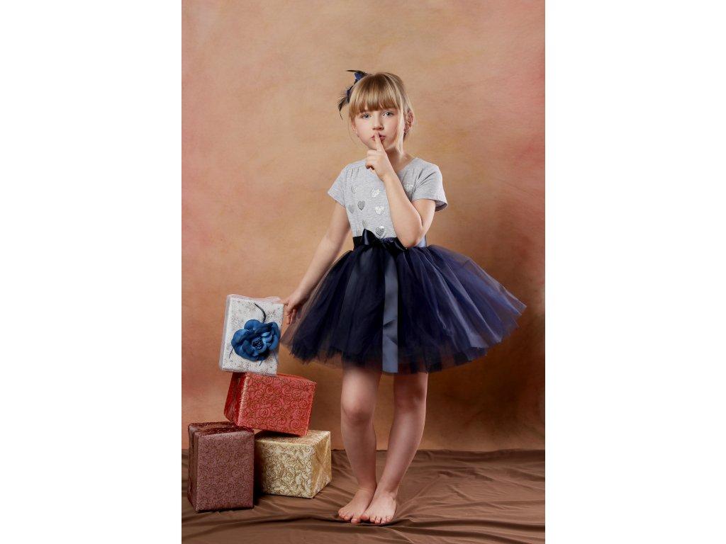 Tutu sukně tylová dětská - námořnicky modrá- délka 35 cm