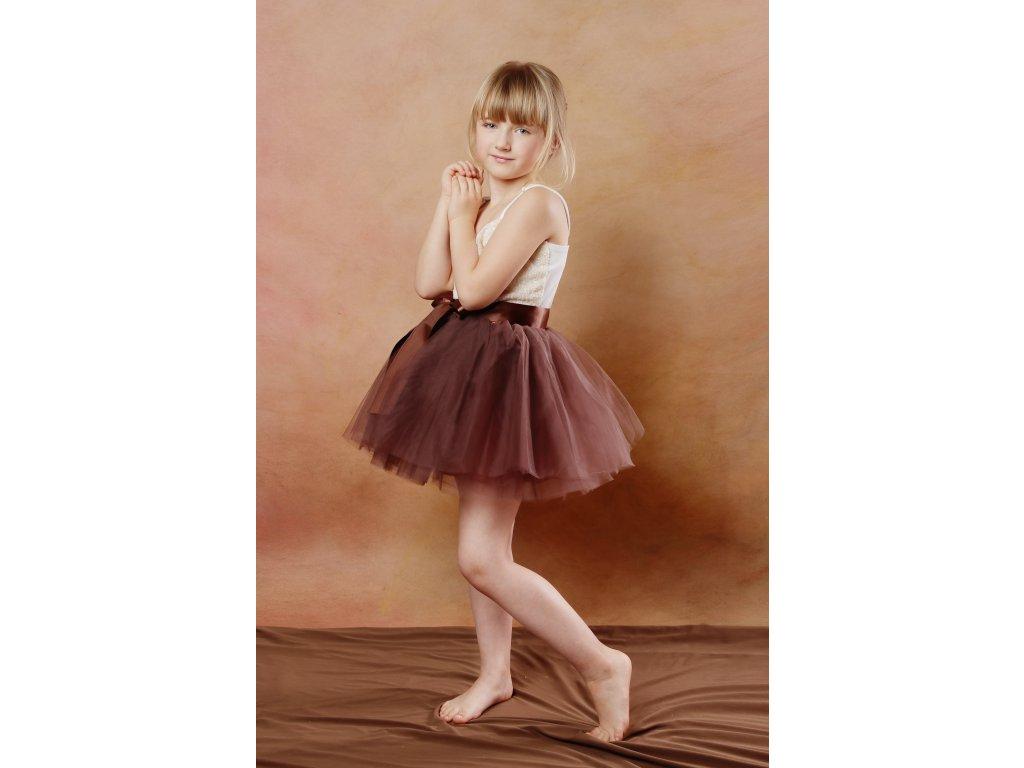 Tutu sukně tylová dětská - čokoládová - délka 35 cm